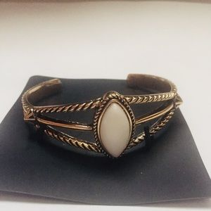 Golden Bangle with White Gem